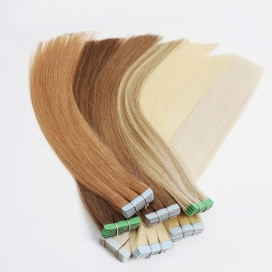 Tape In Machine Made Remy Human Hair Extensions  Silky Straight Tape PU Seamless Skin Weft