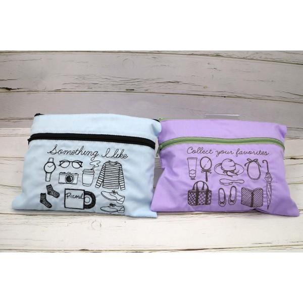 刺繍ポーチ 巾着 2セット小物入れ下着収納バック