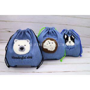 モコル刺繍動物柄 可愛い 旅行出張用小物や下着入れラウンド巾着