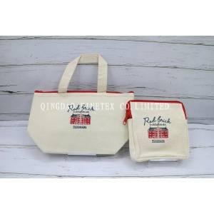 赤レンガ刺繍保冷トートバック ランチバック