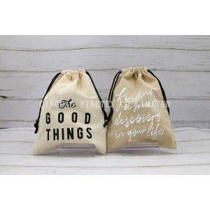 英字印刷可愛い 旅行出張用小物や下着入れ巾着 綿と麻風生地