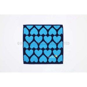 ジャガード刺繍ハンカチタオル 心ブルー