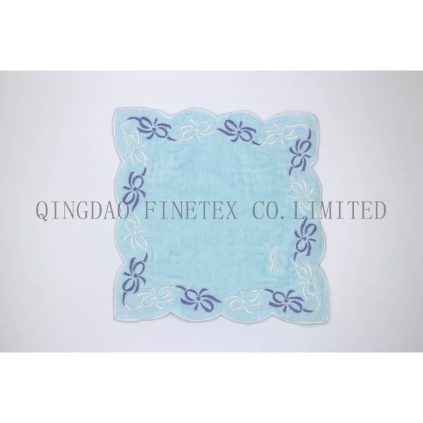 シャーリング 刺繍ハンカチタオル ブルー