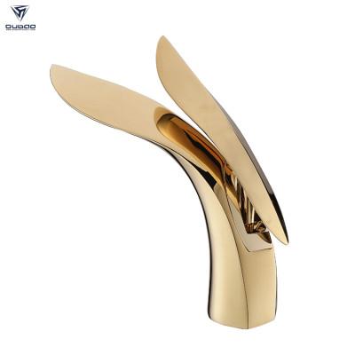 OUBAO Luxury Design Single Lever Gold Brass Bathroom Mixer Faucet