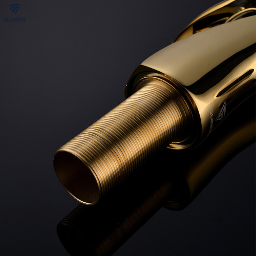 OUBAO Brass Bathroom Mixer Faucet Luxury Design Single Lever Gold