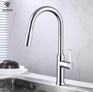 OUBAO long neck kitchen faucet with Flexible pull out hose