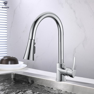 OUBAO Single Lever Handle Deck Mount Pull Down Kitchen Faucet