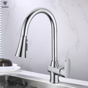 Hot selling polished chrome plating sink faucets single hole pull out