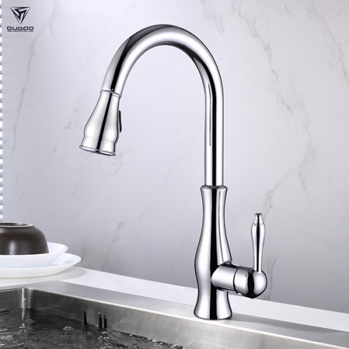 OUBAO single handle kitchen sink faucet chrome brass kitchen tap