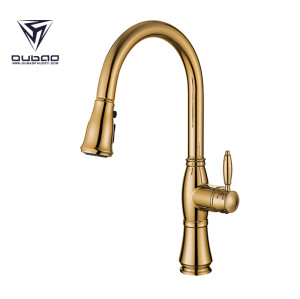 OUBAO Antique Golden Pull Down Kitchen Mixer Taps