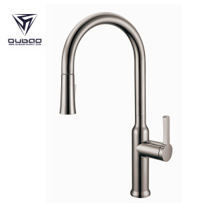 OUBAO Kitchen Sink Fuacet with Pull down Sparyer Brushed Nickel