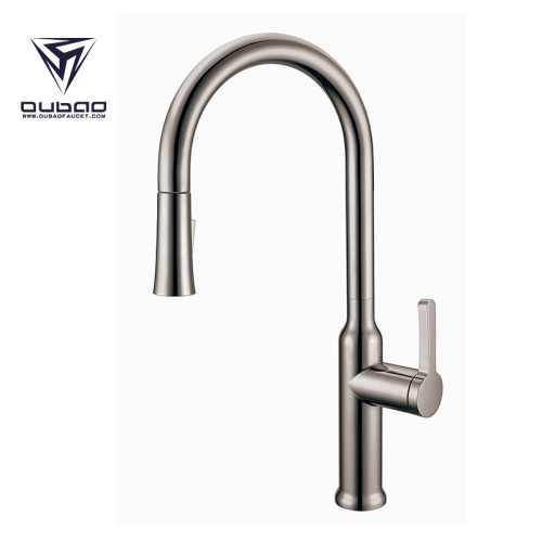 OUBAO Kitchen Water Faucet with Pull down Sparyer High Arc