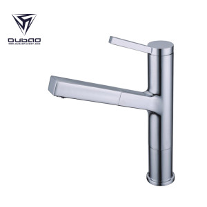 OUBAO Chrome Modern Kitchen Sink Faucet Tap with Pull down Sprayer