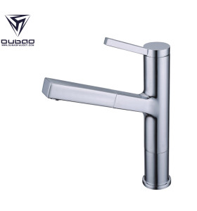 OUBAO Brushed Chrome Small Pull Out Kitchen Faucet Tap