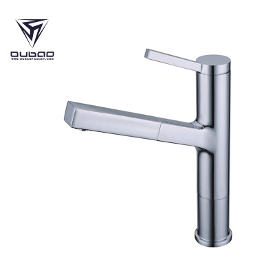 OUBAO Vintage Style Chrome Pull Out Kitchen Sink Faucet