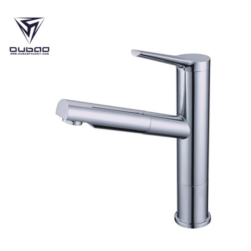 Chrome Single-Handle Pull-Out Kitchen Faucet with Dual Spray