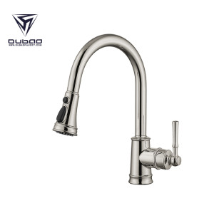 OUBAO One Handle Kitchen Sink Faucet With Sprayer Brushed Nickel