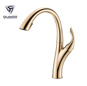 Tall Gold Pull Down Kitchen Faucet With One Handle