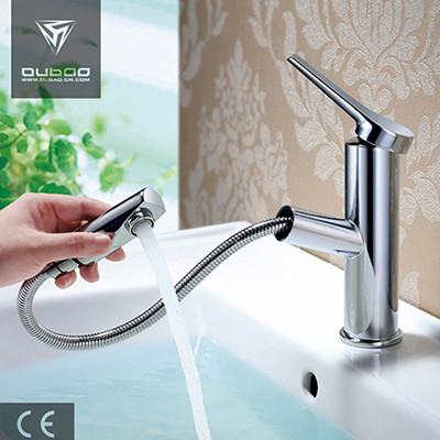 OUBAO Chrome Bathroom Sink Faucet with Pull Out Sprayer