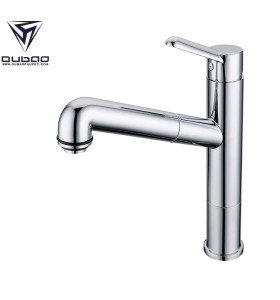 OUBAO Chrome Kitchen Sink Faucets with Pull Out Spray