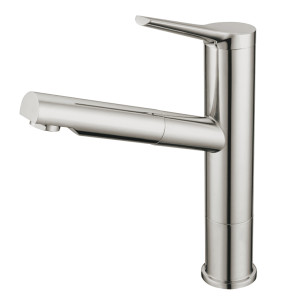OUBAO Single Handle Kitchen Faucet With Pull Out Sprayer Brushed Nickel