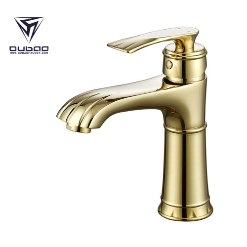 OUBAO Luxury Gold Soild Brass Lavatory Bathroom Faucets