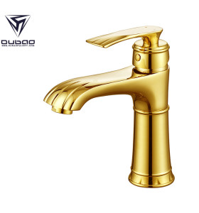 OUBAO Gold Laundry Bathroom Sink Faucet for Polished Brass Bathroom Fixtures