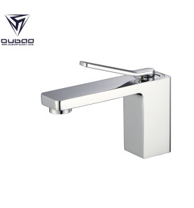 OUBAO Brass Basin Faucet for Bathroom, Normal Tall Chrome Color