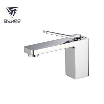 OUBAO Bathroom Basin Faucet Brass Normal tall Chrome