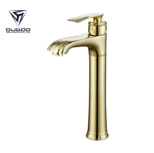 OUBAO Single Lever Bathroom Vessel Sink Water Faucets Gold Plated