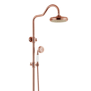 OUBAO Unique Rose Gold Wall Mounted Shower Faucet Set