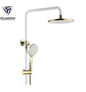 OUBAO New Design White Rain Shower Head And Handheld Shower Faucet Set