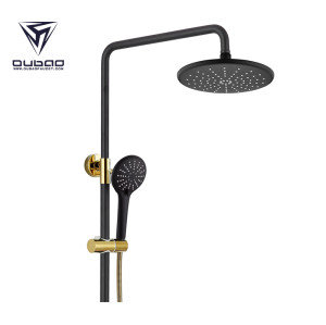 OUBAO Unique Wall Mount Black And Gold Shower Mixer Set