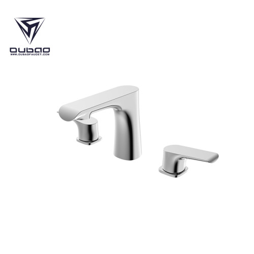OUBAO Bathroom Faucet 2 Handles Widespread High Arc