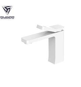 OUBAO Bathroom Basin Faucet White Brass Washbasin