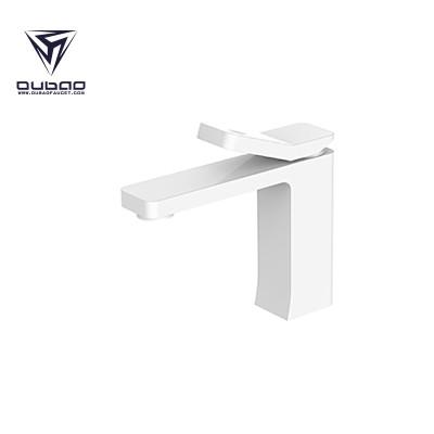 OUBAO Bathroom Basin Faucet White Brass Washbasin