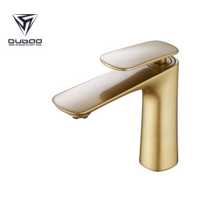OUBAO Luxier High Flow Gold Single Hole Bathroom Faucet