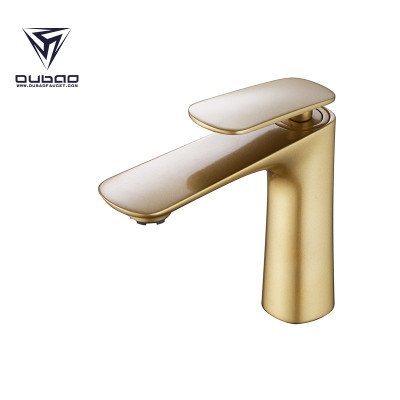 OUBAO Gold Single Hole Bathroom Faucet Luxier High Flow