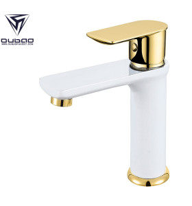 OUBAO Solid Brass Low Lead White Bathroom Basin Faucet