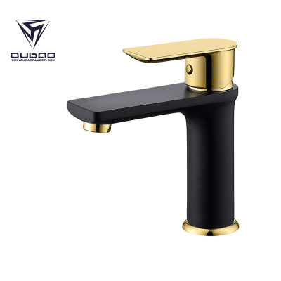 OUBAO Black And Gold Single Handle Wash Basin Faucet