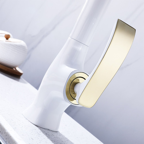 OUBAO Single Handle Gold and White Plated Kitchen Faucet