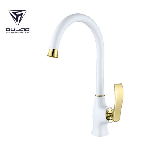 OUBAO New Style Gold and White Plated Kitchen Faucet
