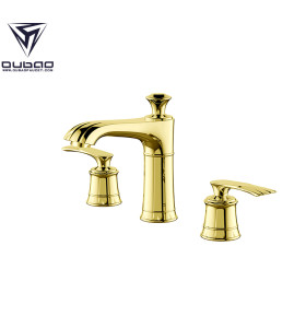 OUBAO Luxury Double Handle Gold Bathroom Basin Faucet