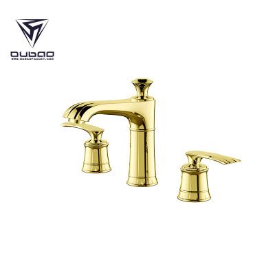 OUBAO Luxury Double Handle Gold Bathroom Basin Faucet
