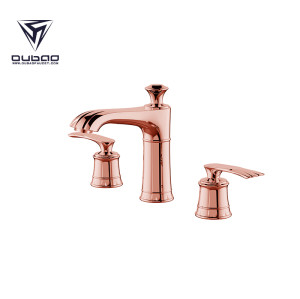 OUBAO Luxury Double Handle Rose Gold Bathroom Basin Faucet