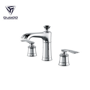 OUBAO Luxury Double Handle Chrome Plating Bathroom Basin Faucet