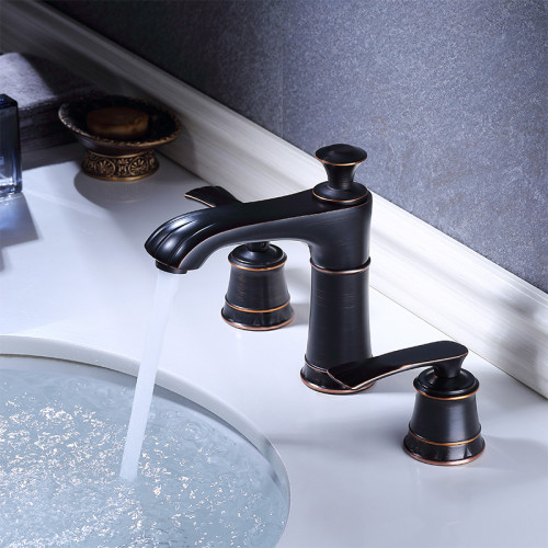 OUBAO Oil Rubbed Bronze 3 Hole 8 Inch Widespread Bathroom Faucet