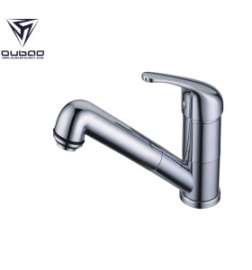 OUBAO Vintage Chrome Mixer Pull Out Kitchen Faucet