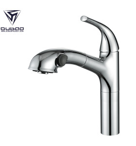 OUBAO Sanitary Ware Chrome Pull Out Kitchen Sink Faucet