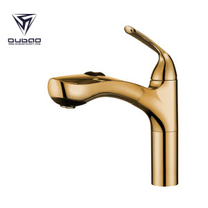 OUBAO Golden Pull Out Kitchen Mixer Tap Spout